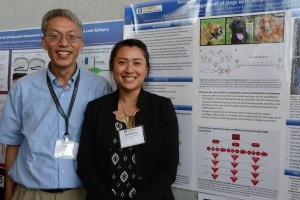 Katti Horng, a dual degree DVM/Ph.D. student in the VSTP program presented her research during the poster session. Dr. Xinbin Chen directs the VSTP program.