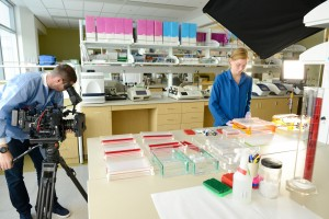 Time Magazine Video Unit videotapes Laboratory Technician Cheyenne Coxon in the One Health Institute Laboratory for an upcoming feature on the One Health program.