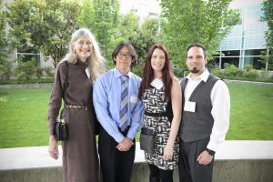 Jan Boyton (left) with scholarship recipient Wayne Tran (Class of 2018) and her guests, Erin and Julian Ovtcharo